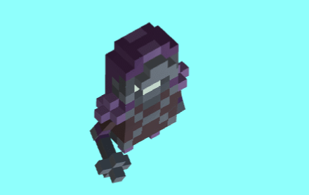 Animation of a voxel art bandit attacking with a mace.